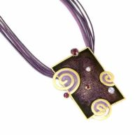 Purple Rectangle Spiral Pendant